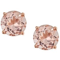 Color D'Yach 14k Rose Gold Morganite Stud Earrings ($340) ❤ liked on Polyvore featuring jewelry, earrings, accessories, stud earrings, jewels, pink, long earrings, butterfly stud earrings, round stud earrings and pink gold earrings