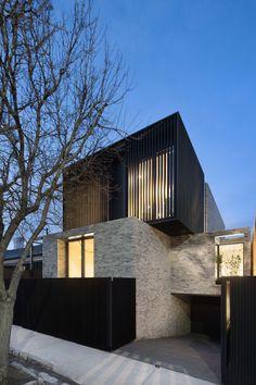 New House Exterior Design Stone Bedrooms Ideas Modern Brick House, Modern Small House Design, Modern House Facades, Brick Cladding, House Cladding, Facade House, Brick Facade, Duplex Design, Townhouse Designs