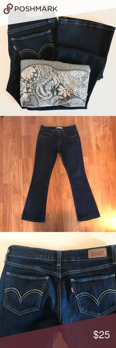 """Levi's 518 Super Low Bootcut Jeans Levi's 518 super low Bootcut , size 27x30 , dark wash, smoke free home  Waist: 27"""" Front rise: 8 1/2"""" Back rise: 12"""" Inseam: 28 1/2"""" Leg opening: 18"""" Levi's Jeans Boot Cut"""
