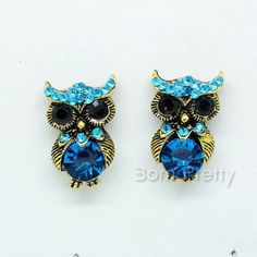 $1.69 Earring Ear Stud Fashion Retro Blue Rhinestone Owl Design - BornPrettyStore.com