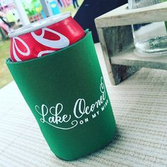 """""""Lake Oconee on My Mind"""" Coozies (Copyright Claire Sanders Calligraphy 2016)"""