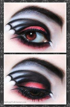 Goth vampire makeup Bat wing eye shadow   http://lovegothic.com/manic-panic-goth-white-powder-cream-foundation-review/