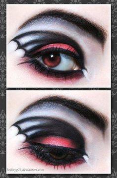 Goth vampire makeup Bat wing eye shadow   http://lovegothic.com/manic-panic-goth-white-powder-cream-foundation-review/