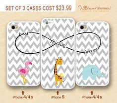 Best friends infinity Chevron flamingo Elephant & by BlessedBazaar, $23.99 SO CUTE wish i had an iphone :(
