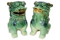 Green Ceramic Foo Dogs, Pair on OneKingsLane.com