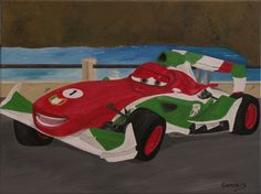 """Oil painting titled """"Max's Car"""", done on a 12"""" x 16"""" x 1.5"""" canvas. Not available."""