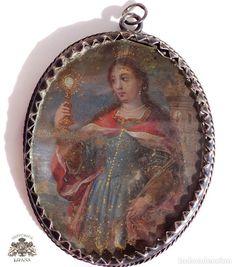 Antigüedades: MEDALLA RELICARIO VIRGEN MARIA CON NIÑO Y SANTA ELENA PINTADA POR LAS DOS CARAS - s. XVII / XVIII - Foto 3 - 68560421