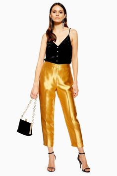 Shine bright this season with these gold peg style trousers. This statement-making piece looks a dream styled with classic black to keep the metallic tone the centre of attention. Dry clean only. Trouser Outfits, Pants Outfit, Peg Trousers, Alycia Debnam Carey, Style Guides, Asos, Topshop, Satin, Chic