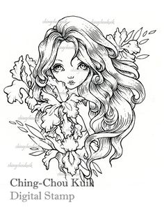 Iris Digital Stamp Instant Download / Flower Lady by gjzcck