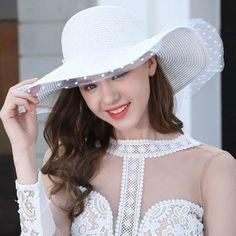 aeaea327835 Lace floppy straw sun hat for women fashion UV summer large brim sun hats