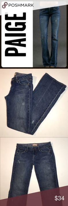 "Paige Laurel Canyon Distressed Jeans ✔️Low Rise Boot Cut Fit ✔️98% Cotton/2% Spandex Hemmed Inseam: 32"" ✔️Distressed Finishing ✔️Excellent Condition! PAIGE Jeans"