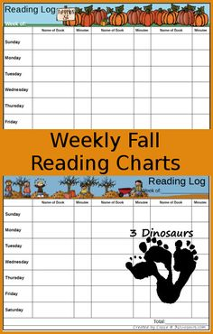 FREE Weekly Fall Reading Charts - 2 different types of printables: Minutes and Tally - Books, Apples, Leaves, Pumpkins themes - 3Dinosaurs.com