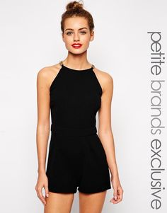 Black playsuit with a gold chain