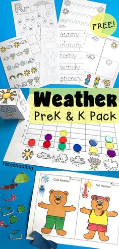 FREE Weather printable pack for preschool and kindergarten, perfect for a Spring weather unit. Learn about weather types, words, and clothing while practicing fine motor skills, graphing, patterns, and more. Also includes dress-up bears for hot and cold w