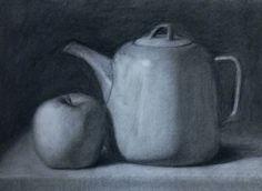 Still Life Drawing, Be Still, Tea Pots, Charcoal, Drawings, Artwork, Work Of Art, Drawing, Tea Pot