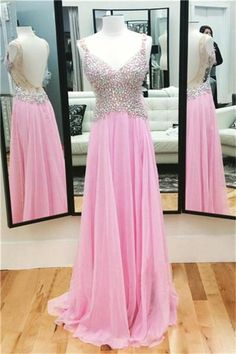 6637f9201 Sparkly Colorful Long Pink Chiffon A-line Backless Prom Dresses With Straps  Z0486 Princess Prom