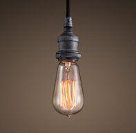 20th C. Factory Filament Bare Bulb Single Pendant - I like these single bulbs - RH 8'cord; 4.5w x 6.75h $75