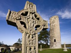 An intricate high cross basks in the sun at Clonmacnoise Monastic Site, County Offaly. This particular one dates back to around and was carved in stone to make it harder for Vikings to steal during their regular raids. Dublin, Ireland Holiday, Scotland Tours, Castles In Ireland, Great Vacations, European Destination, Ireland Travel, Ireland Vacation, City Break