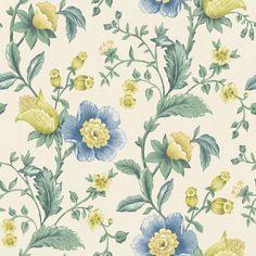 Albany Zinna Cream and Blue Wallpaper main image