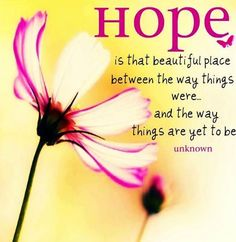 HOPE...Is That Beautiful Place Between The Way Things Were...And The Way Things Are Yet To Be.     #quote #happy #hope #beautiful #positive Words Of Encouragement, Great Quotes, Inspirational Quotes, Breast Cancer Quotes, Faith Bible, Faith Hope Love, Give Hope, Mantra, Positive Quotes