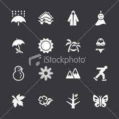 All Season Icons Set 1 - White Series | EPS10 Royalty Free Stock Vector Art Illustration