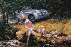 Alan Fearnley, 1942 ~ Retro e Classic Car Jaguar Xk120, Classic Race Cars, Vintage Couples, Automotive Art, Car Painting, New Artists, Amazing Art, Antique Cars, Vintage Cars
