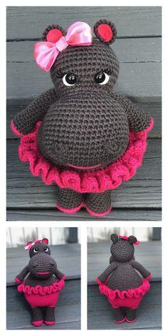 Amigurumi Cute Hippo Free Pattern - Modèles d& gratuits Crochet Penguin, Easter Crochet, Cute Crochet, Crochet Crafts, Crochet Dolls, Crochet Projects, Crochet Beanie, Crochet Animal Patterns, Stuffed Animal Patterns