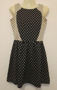 River Island Ladies Contrast Polka Dot Swing Skater Flared Summer Dress Size 8