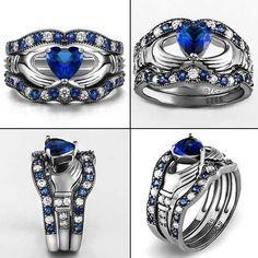 3 unids Azul Zafiro Corona Del Corazón de la CZ Del Anillo de Bodas Conjuntos…