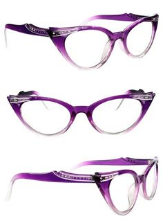 f2634da5de Restyle Purple Rhinestone Cats Eye Glasses 50s Glasses