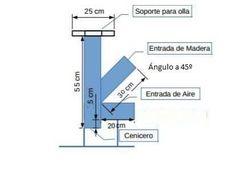Estufa Rocket Cenicero medidas para 100*100
