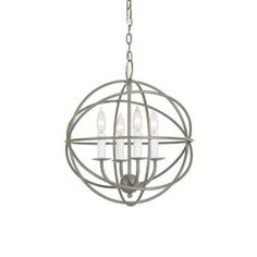 JVI Designs 15-in 4-Light Aged Silver Vintage Globe Chandelier