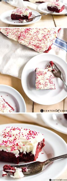 These RED VELVET SUGAR COOKIE BARS have crispy edges and buttery soft centers that melt in your mouth. Top with a light cream cheese frosting makes these cookie bars simply irresistible.