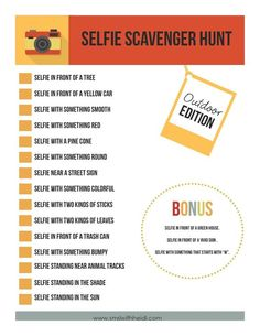 Selfie Scavenger Hunt is the perfect teen party idea. There is no doubt that this generation loves to take selfies print out these free selfie scavenger hunt Activities For Teens, Games For Teens, Sleepover Activities, Party Games For Tweens, Fun Teen Games, Family Reunion Activities, Sleepover Crafts, Mutual Activities, Icebreaker Activities