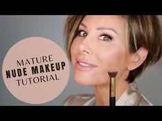 Grey Hair And Makeup, Nude Makeup, Glam Makeup, Beauty Makeup, Beauty Skin, Makeup Tips Over 40, Dominique Sachse, Hooded Eye Makeup Tutorial, Makeup For Older Women