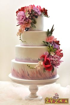 Elegant hand painted tiered #wedding #cake x