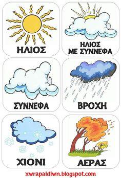 """Utazás a Country . Preschool Classroom Decor, Preschool Education, Teaching Kindergarten, Classroom Organization, Teaching Weather, Learn Greek, Greek Language, Class Decoration, Greek Words"