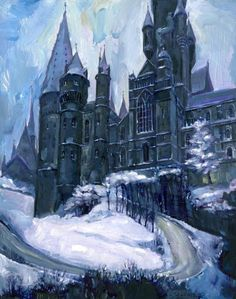 Concept art for Hogwarts in winter by Jim Salvati.