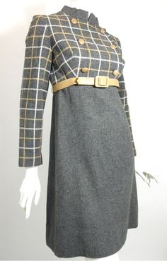 60s grey and tan wool high waist mod dress with checked bodice, vinyl belt, notched stand up collar.