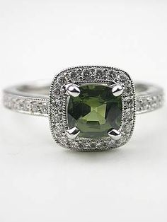 Cushion Cut Green Sapphire Engagement Ring. Love! Umm..future husband, wink wink lol that or emerald would suffice :)
