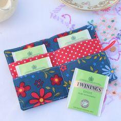 Teabag wallet or business card holder - 'Folk Art' - navy, red - FREE UK PP £5.75