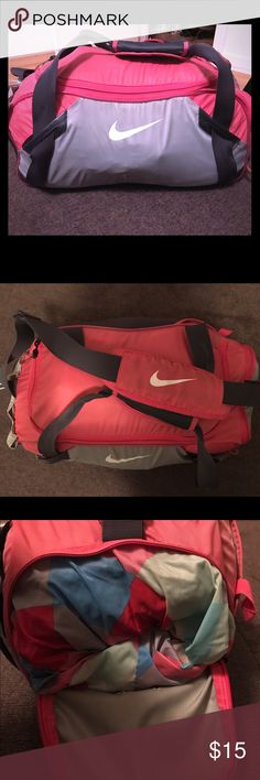 Nike gym bag Pink and gray Nike gym bag with mesh outside pocket, separate compartment for your shoes, inside zippered  pocket to store any valuables and an additional pocket outside to store your phone. Nike Bags Travel Bags