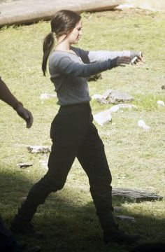 Jennifer Lawrence as Katniss Everdeen on the set of Mockingjay. May 2014.