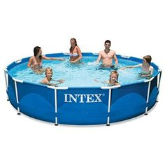 Intex 12ft X 30in Metal Frame Pool Set with Filter Pump  Super-Tough laminated PVC sidewalls; connect the Krystal clear cartridge filter pump to enjoy clean, refreshing water  Equipped with the ground fault circuit interrupter that shuts off the pump if electrical current is exposed to water  Includes: Krystal clear cartridge filter pump 530 gph (110 - 120v) with 1-year warranty  Convenient drain plug that connects to a garden hose so water can be drained away from pool or house area; water