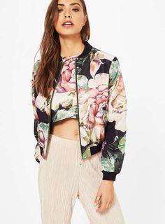 Fliegerjacke mit Blumenmuster - bomberjacke - blouson - bomber jacket - jacket - jacke - blumenmuster - floral - print