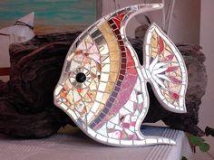 Pez ángel  azulejo de mosaico de vidrio de pez ángel