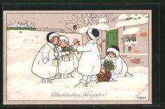 tolle-Kuenstler-AK-Pauli-Ebner-Glueckliches-Neujahr-Kinder-mit-Geschenken-1910