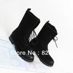 2013 New Arrival Black Side Zip Women Flat Boots With Lace ,Genuine Leather Flat Women Shoes,Free Shipping.
