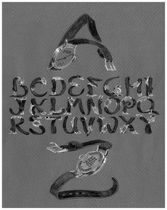 Hand-Wrought Fonts, including letterforms of contorted watchbands, jockstraps and banana peels