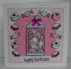 A very sweet card using Inky Doodles Sweet Treats Stamp Set www.needleworkgardencrafts.co.uk
